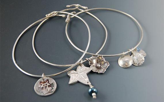 Bangle Bracelets With Metal Clay Charms