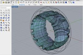 CAD digital work space with a ring in progress